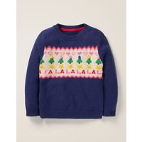 Cosy Christmas Day Jumper Blue Girls Boden, Blue