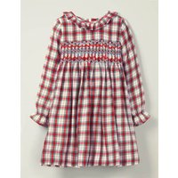 Cosy Smocked Check Dress Red Girls Boden, Ivory