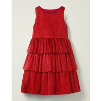 Sparkle Tiered Dress Red Christmas Boden, Red
