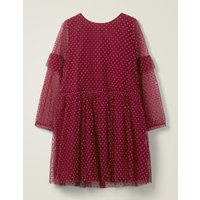 Johnnie B Flocked Spot Party Dress Red Girls Boden, Red