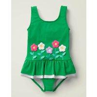 Novelty Applique Swimsuit Green Girls Boden, Green