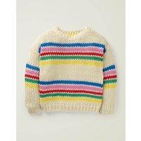 Johnnie B Stripy Knitted Jumper Ivory Girls Boden, Beige