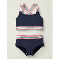 Johnnie B Textured Bikini Set Grey Girls Boden, Blue