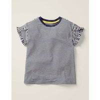 Frill Wrap Sleeve Top Navy/Ecru Stripe Girls Boden, Beige
