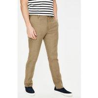 Clovelly Linen Trousers Brown Men Boden, Brown