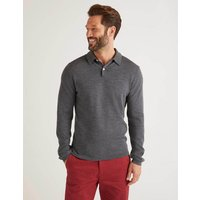 Amberley Knitted Polo Grey Men Boden, Black