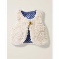 Reversible Fleecy Gilet Ivory Baby Boden, Beige