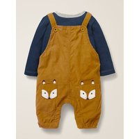 Cord Dungaree Play Set Yellow Baby Boden, Brown