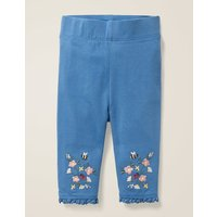 Floral Embroidered Leggings Blue Baby Boden, Blue