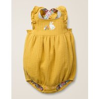 Frilly Embroidered Romper Yellow Baby Boden, yellow