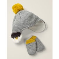 Cosy Knitted Hat & Mittens Set Grey Baby Boden, Grey