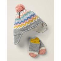 Fair Isle Hat & Mittens Set Grey Baby Boden, Grey