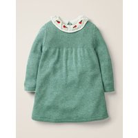 Embroidered Knitted Dress Green Baby Boden, Green
