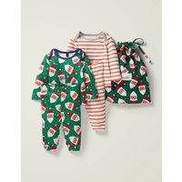 Cosy Twin Pack Pyjamas Green Baby Boden, Green
