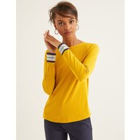 Boden Striped Cuff Tee Yellow Women Boden, Multicouloured