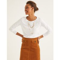 Supersoft Long Sleeve Tee White Women Boden, White
