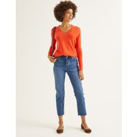 Cashmere Relaxed V-neck Jumper Orange Women Boden, Orange