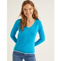 Elina V-neck Jumper Blue Women Boden, Blue