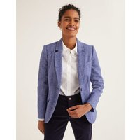 Smyth British Tweed Blazer Bright Blue Herringbone Women Boden, Bright Blue Herringbone