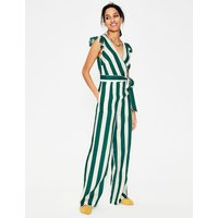 Mila Jumpsuit Woodland Green, Ivory Stripe Women Boden, Woodland Green, Ivory Stripe