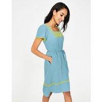 Bernadette Embroidered Dress Blue Women Boden, Blue