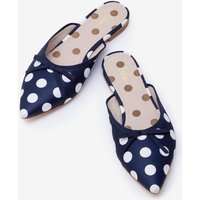 Connie Flat Mules Navy Women Boden, Ivory