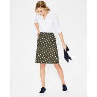 Printed Cotton A-line Skirt Khaki Women Boden, Khaki