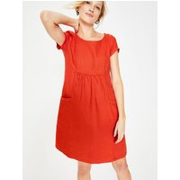 Alberta Linen Dress Red Women Boden, Red