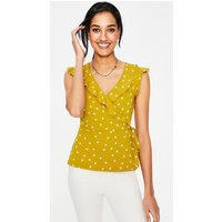 Jodie Jersey Wrap Top Yellow Women Boden, Red