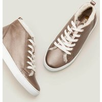 Boden Shearling High Top Trainers Gold Women Boden, Metallic
