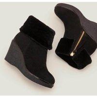 Chaldon Shearling Wedge Boots Black Women Boden, Black