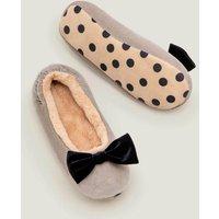 Cosy Velvet Bow Slippers Grey Christmas Boden, Grey
