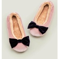 Cosy Velvet Bow Slippers Pink Christmas Boden, Pink