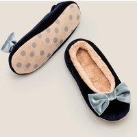 Cosy Velvet Bow Slippers Navy Christmas Boden, Navy
