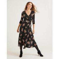 Francesca Jersey Midi Dress Black, Country Posy Women Boden, Black, Country Posy