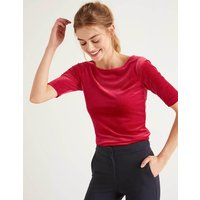 Laura Scoop Back Velvet Top Red Women Boden, Red