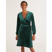 Ellie Velvet Wrap Dress Green Women Boden, Green