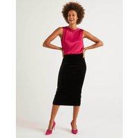 Boden Lorna Velvet Pencil Skirt Black Women Boden, Black