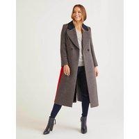 Burney Coat Grey Marl/Postbox Red/Navy Women Boden, Grey Marl/Postbox Red/Navy