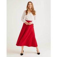 Esme British Tweed Midi Skirt Red Women Boden, Navy