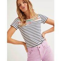 Short Sleeve Breton Pink Women Boden, Pink