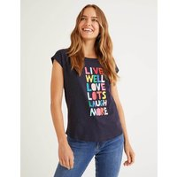 Boden Robyn Jersey Tee Navy, Live Well Women Boden, Navy