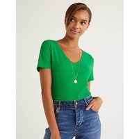 Boden The Cotton V-neck Tee Green Women Boden, Green