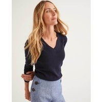 Cashmere V-neck Jumper Navy Women Boden, Navy
