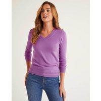 Cashmere V-neck Jumper Purple Women Boden, Purple