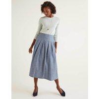 Theodora Pleated Skirt Denim Women Boden, Blue