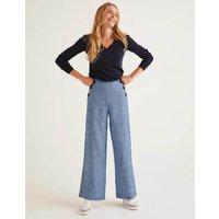 Falmouth Linen Trousers Chambray Women Boden, Chambray