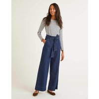 Boden Paperbag Full Length Wide Leg Denim Women Boden, Denim