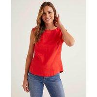 Julianne Linen Shell Top Red Women Boden, Navy