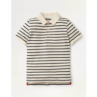 Pique Polo Shirt Navy Boys Boden, Ivory